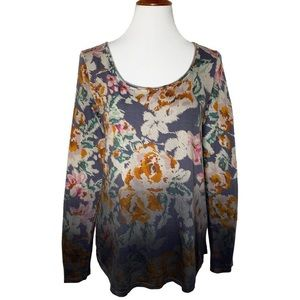 Anthropologie Dip Dye Floral Long Sleeve Tee